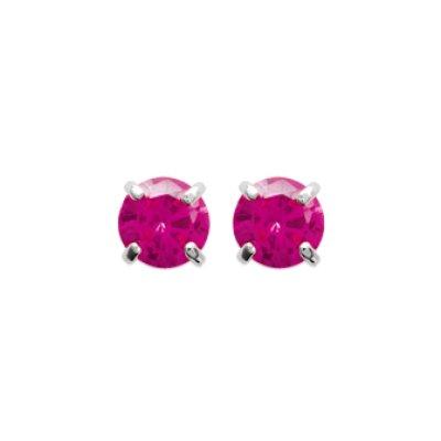 Boucles d'oreilles puces clous rondes pierre rose 4 mm - Eva - argent 925 rhodié