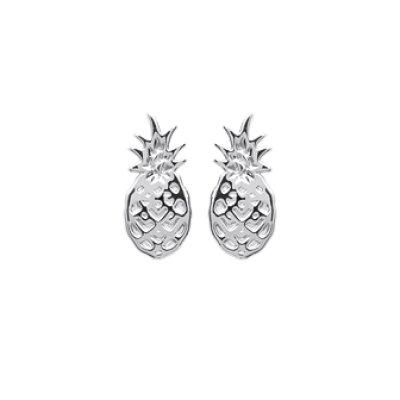 Boucles d'oreilles puces clous ananas 10 mm - Ilienne - argent 925 rhodié