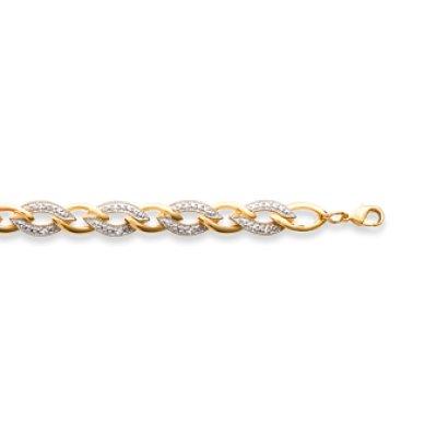 Bracelet plaqué or 750 3 microns bicolore et oxyde de zirconium longueur 19 cm