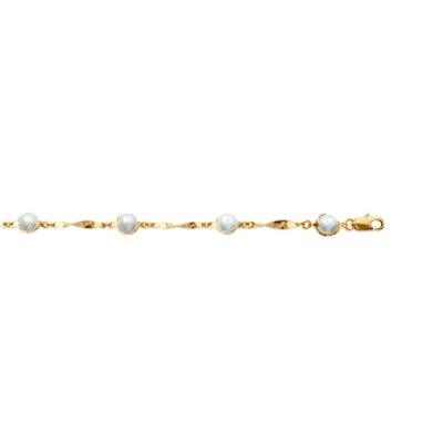Bracelet plaqué or 750 3 microns et imitation perles longueur 18 cm