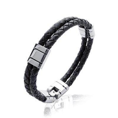 Bracelet acier et cuir longueur 21 cm