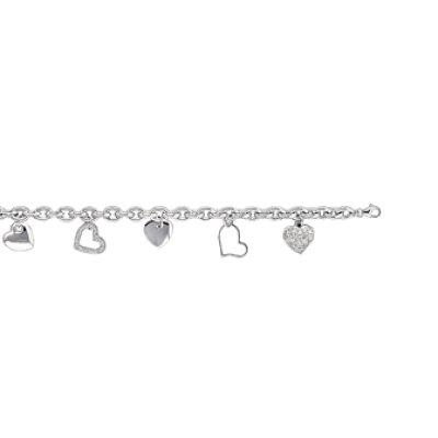 Bracelet argent massif 925 rhodié et oxyde de zirconium longueur 19 cm