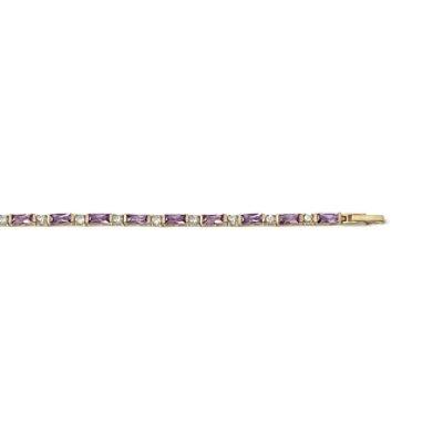 Bracelet plaqué or 750 3 microns et oxyde de zirconium longueur 18 cm