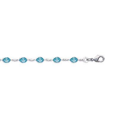 Bracelet argent massif 925 rhodié et cristal longueur 19 cm